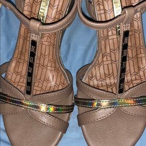Brazilian Beauties ~ Camel and Gold Wedge Sandals